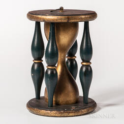 Green- and Gold-painted Wood Odd Fellows Hourglass