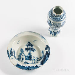 Blue and White Decorated Tin-glazed Earthenware Basin and Jar