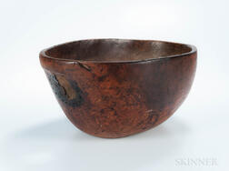 Large Carved Burl Bowl with Handles