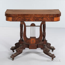 Brass- and Exotic Wood-inlaid Mahogany Lyre-base Card Table