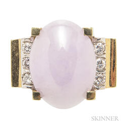 18kt Gold, Lavender Jade, and Diamond Ring