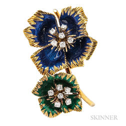 18kt Gold, Enamel, and Diamond Brooch, Van Cleef & Arpels
