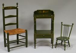 Green-painted and Decorated Wooden Ladder-back Side Chair, Washstand, and Childs Chair.