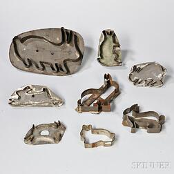 Eight Tin Rabbit Cookie Cutters