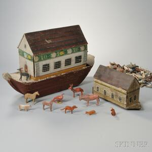 Two Carved and Paint-decorated Noah's Ark Models with Animals