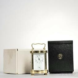 L'Epee Brass and Glass Carriage Clock with Alarm