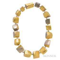 18kt and 22kt Gold Necklace and Earrings, Alexandra Watkins for Janiye