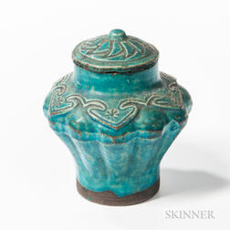 Turquoise-glazed Covered Jarlet