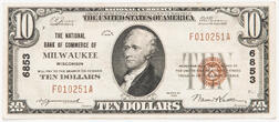 1929 The National Bank of Commerce of Milwaukee Type 1 $10 Note
