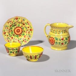 Four Yellow-glazed Earthenware Table Items