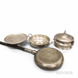 Four Pewter Domestic Items