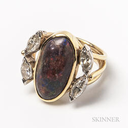 14kt Gold, Black Opal, and Diamond Ring