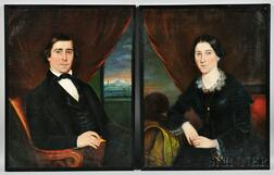 Attributed to Robert Street (Pennsylvania, 1796-1865)      Pair of Portraits of a Husband and His Wife
