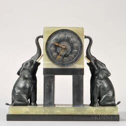 Marble Shelf Clock with Elephants