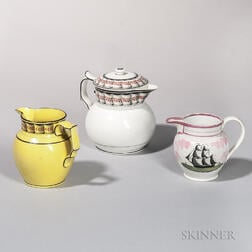 Pink Lustreware Jug, Yellow-glazed Jug, and a Pearlware Covered Jug