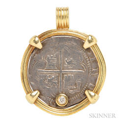 18kt Gold, Coin, and Diamond Pendant