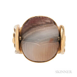 18kt Gold and Hardstone Scarab Swivel Ring, Elizabeth Gage