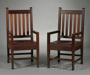 Pair of Roycroft Arts & Crafts Armchairs