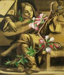 Louise E. Marianetti (American, 1916-2009)      Surrealist-style Composition (Lute Player with Apple Blossoms).