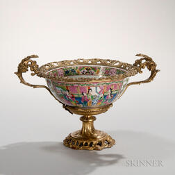 Gilt-bronze-mounted Faux Rose Mandarin Bowl