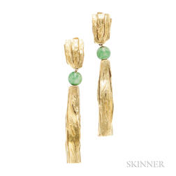 18kt and 24kt Gold and Jade Earrings, Alexandra Watkins for Janiye