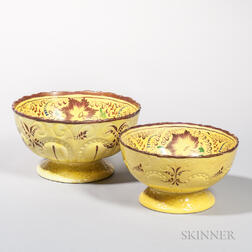 Two Molded and Yellow-glazed Punch Bowls