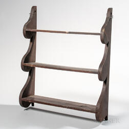 Red/brown-painted Three-tier Wall Shelf