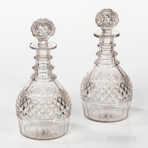 Pair of Anglo-Irish Cut Crystal Decanters
