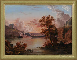 American School, Mid-19th Century      Sunset River Landscape