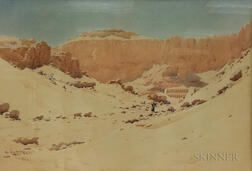 Augustus Osborne Lamplough (British, 1877-1930)      Deir el Bahari, At Noon