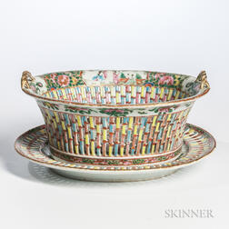 Rose Medallion Export Porcelain Reticulated Fruit Bowl and Undertray