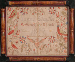 Lancaster County Watercolor Birth Fraktur for Isaac Stauffer