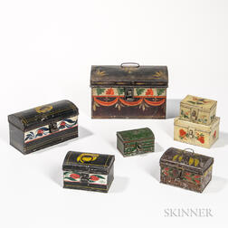 Seven Painted Tin Boxes