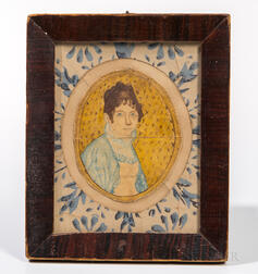 American School, Early 19th Century      Miniature Portrait of Alma Bradbury