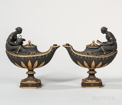 Pair of Wedgwood Gilt and Bronze Black Basalt Oil Lamps