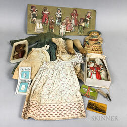 Group of Lithographed Paper Dolls and Costumes.     Estimate $100-150