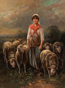 Edouard Sanchez (French, 19th/20th Century)      Shepherdess with Flock