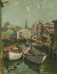 David Wu Ject-Key (Chinese/American, 1890-1968)  Lot of Seven Oils Including a Rockport Harbor View and Figure Studies