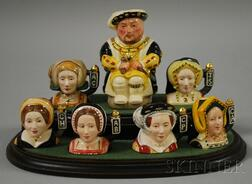 Set of Seven Miniature Royal Doulton Henry VIII and Wives Ceramic Toby and Character   Jugs