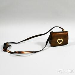 Moschino Copper Patent Leather Shoulder Bag