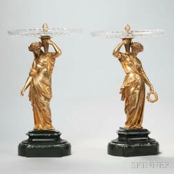Pair of Neoclassical-style Figural Gilt-bronze Tazza