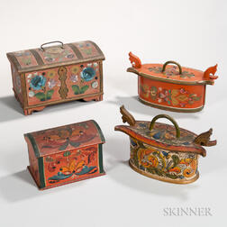Four Scandinavian Paint-decorated Boxes