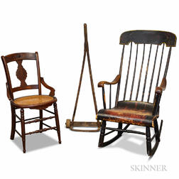 Primitive Wood Hand Truck, a Boston Rocker, and a Victorian Side Chair.     Estimate $20-200