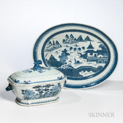 Canton Export Porcelain Covered Tureen and Oval Platter