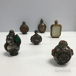 Six Silver Repousse Metal Snuff Bottles