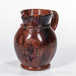 Eagle-decorated Redware Jug