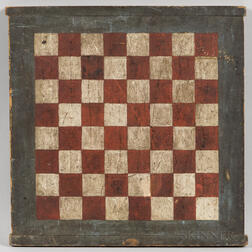 Small Red- and White-painted Checkers Game Board