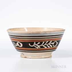 Slip Branch-decorated Pearlware Bowl