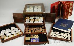 Fifty-one Franklin Mint Sterling Silver Numismatic Issues and Sixty-one Franklin   Mint and Other Bronze and Metal Medals and Coins