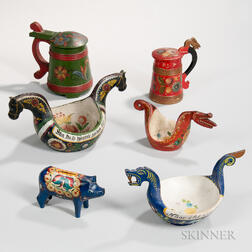Six Paint-decorated Nordic Items